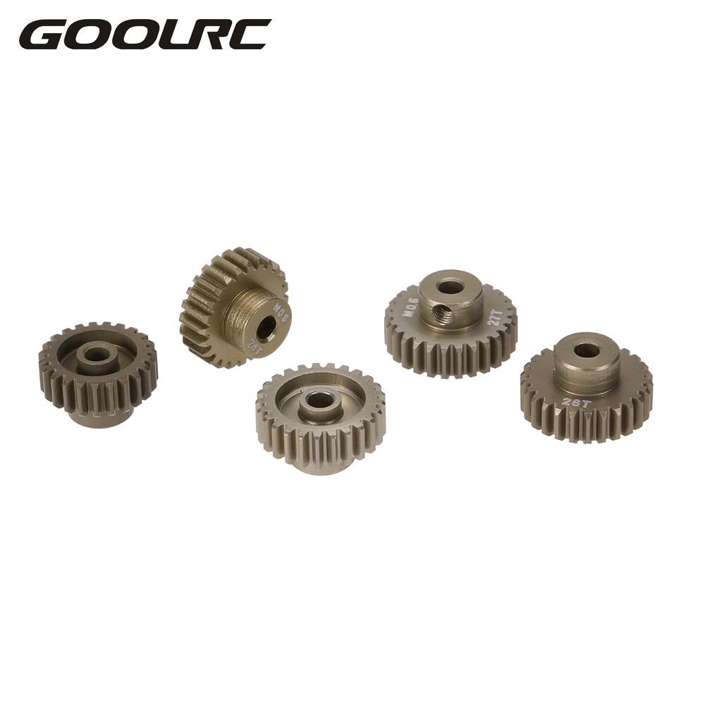 GOOLRC M0.6 3.175mm 23T 24T 25T 26T 27T 0.6 Module Pinion Motor Gear for 1/8 1/10 RC Buggy Monster Truck Brushed Brushless Motor hsp parts 50211 optional powder steel gear 25t a 35t 25t b 2 4pcs for 1 5 rc cars gas power monster truck 94050 sheleton baja