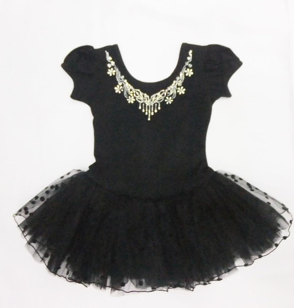 Black Open Button Style Girl Ballet Skirt Short Sleeve&long-sleeve Winter Ballet Skirt Size:M-6XL (giving Rose Hair Accessories)
