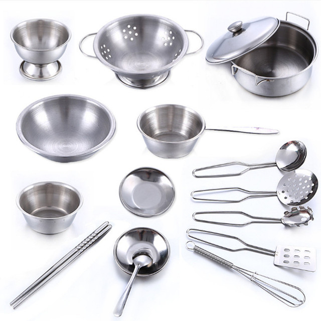 16 Pcs Stainless Steel Pretend Play Kitchen Toys Mini