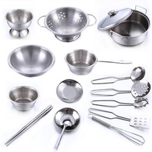 16 Pcs Stainless Steel Pretend Play Kitchen Toys Mini Model Kitchenware Cookware Cooking Toys Children Kids Pot Pan Brinquedo