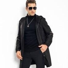 Luxury Leather Jacket Smart Casual Men's Hooded Leather Coat 100% Sheepskin Military Style Black Leather Slim Long Parka Travel
