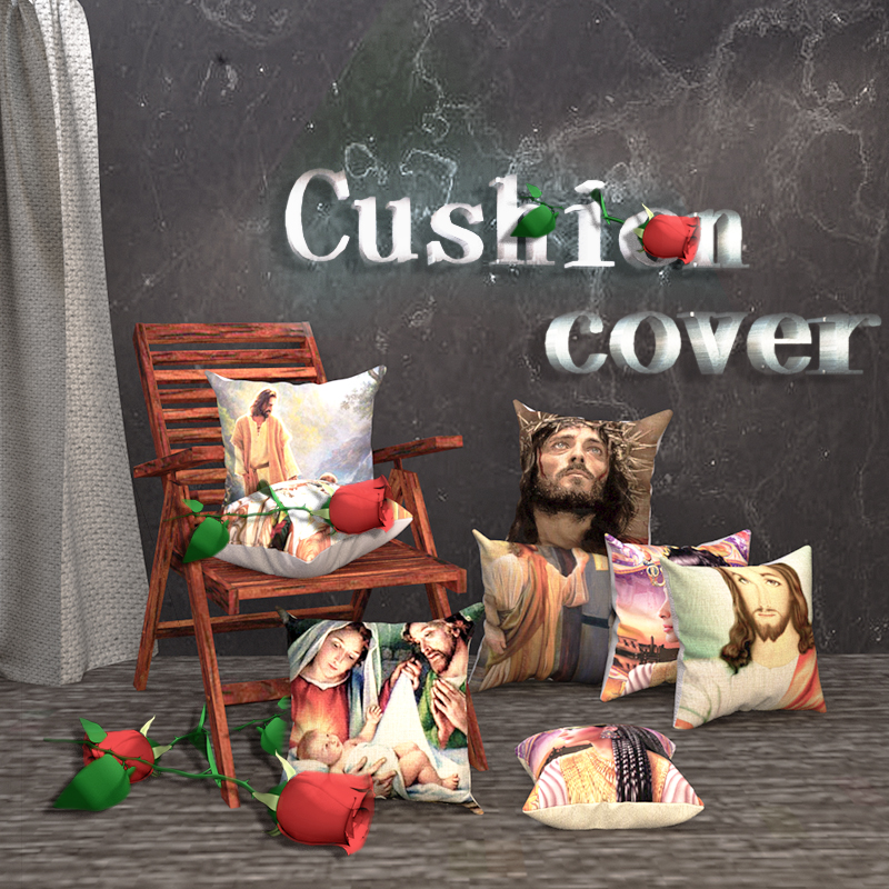 Religious Cushion Cover Jesus Girl Believers Pattern Print pillocase for Bedroom Sofa Pillow decoration