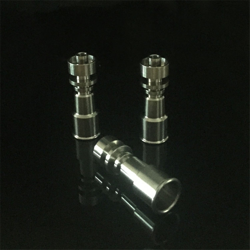 Grade2 Female 10mm&14mm and 14mm&18mm 2 in 1 Double Function Domeless Titanium Nails for glass bongs glass bubbler  hookah  0C 4