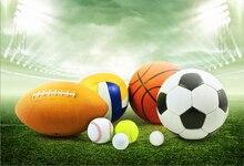 Laeacco Soccer Basketball Football Baseball Green Grass Spotlight Stadium Photo Backgrounds Photographic Backdrops Studio