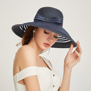Image 5 - 2019 New Style Women Summer Beach Hat Bow knot Accent Ladies Striped Wide Brim Floppy Sun Hat  Kentucky Derby Paper Straw Hat
