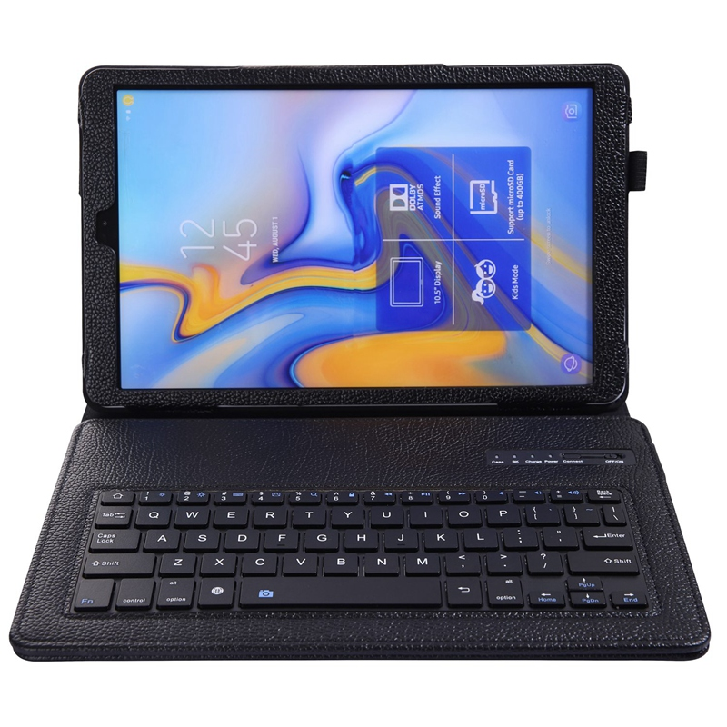 Lychee Keyboard Case For Samsung Galaxy Tab A 10.5 Model Sm-T590/T595/T597,Slim Shell Lightweight Stand Cover With Detachable