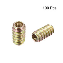Uxcell 100pcs/lot Furniture Threaded Insert Nut M6 M8 Carbon Steel Zinc Plated Hardwere Fasteners Parts 12/15/20/25mm