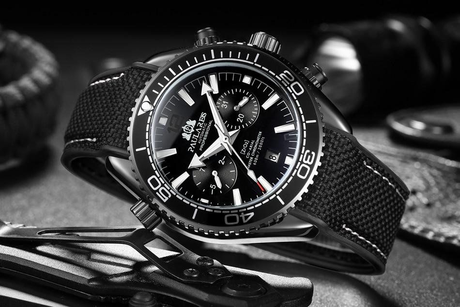 HTB1YeOkdBCw3KVjSZFlq6AJkFXam Men Automatic Self Wind Mechanical Canvas Rubber James Bond 007 Style Orange Blue Multifunction Date Month Sport Watch