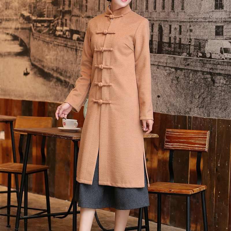 Abrigo de mezcla de mujer estilo chino abrigo de invierno 2018 abrigos largos Mujer invierno 2018 trenchcoat AA4207
