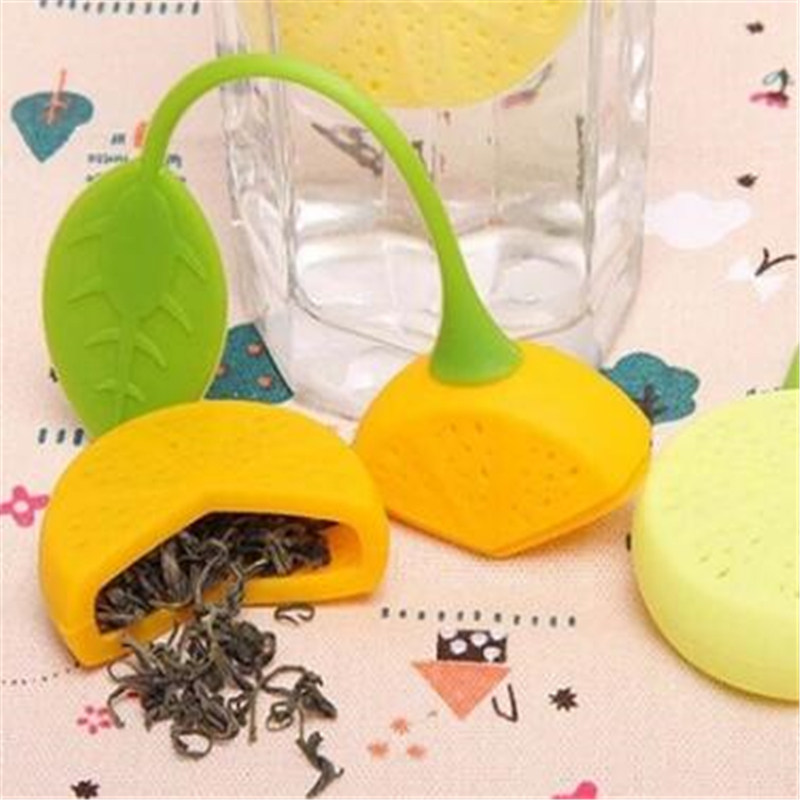 Reusable Tea Strainer Silicone Cute Lemon Design Loose Tea Leaf Strainer Bag Herbal Spice Infuser Filter Tools Teaware