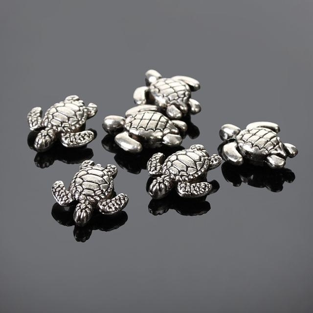 16x18mm Sea Turtle 50pcs Antique Tibetan Silver Plated Spacer Beads Charms Findings To Make Jewelry Beading Accessories Hole 2mm