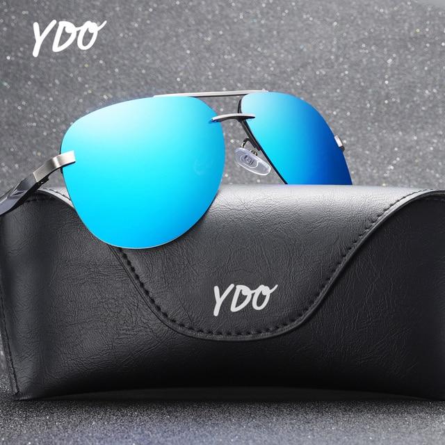 c3fdac3453 YDO los hombres gafas de sol polarizadas 2019 nuevo aviador aleación gran  tamaño Marco moda colorido espejo lente UV400 verano Retro