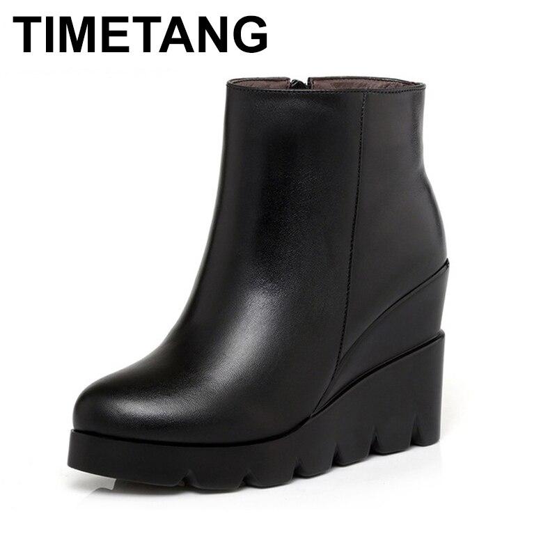 TIMETANG 2018 осень зима из мягкой кожи на платформе и высоком каблуке для девочек Ботильоны на танкетке женская обувь модные сапоги женщин разме...
