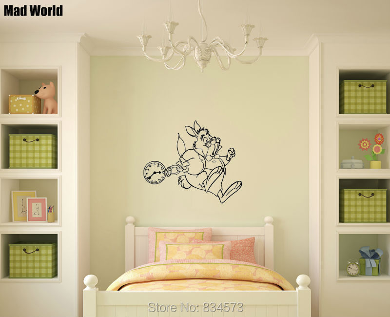 Mad World White Rabbit Silhouette Kids Wall Art Stickers Wall Decal ...