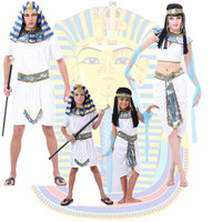 Egypt Queen Costumes Princess Royal Golden Women Men Costume Masquerade theme Party adult halloween cosplay kids Adults clothing