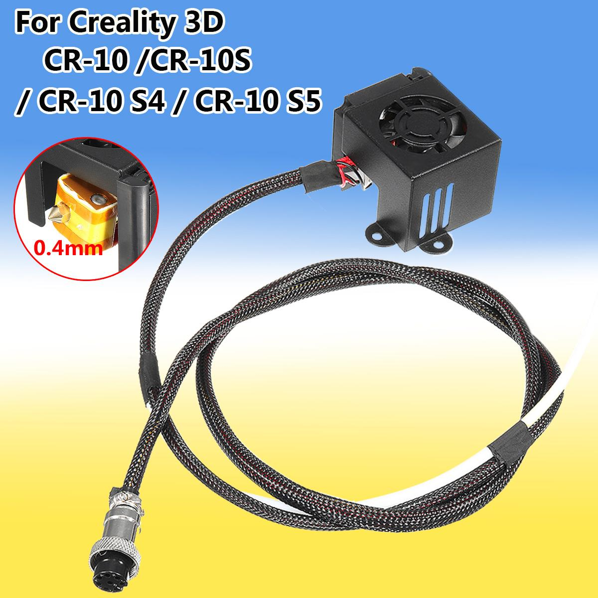 3D Printer Parts 0.4mm Nozzle MK8 Hot End Extruder Kits With Cooling Fan For Creality CR-10 3pcs lot 3d printer parts assembled mk8 extruder hot end kit nozzle 0 2 0 3 0 4 0 5mm 12v 0 4mm accessories for creality 3d cr 7