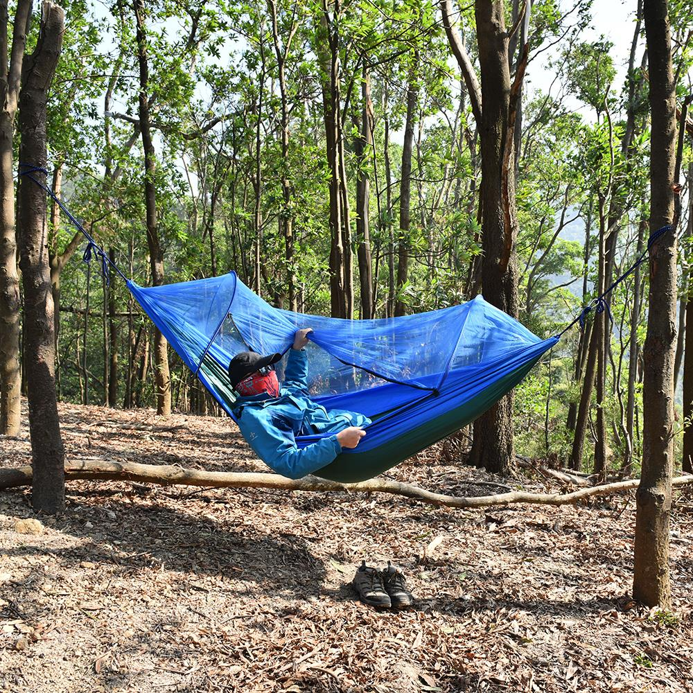 Image 4 - Outdoor Camping Hammock with Mesh Mosquito Bug Net Hanging Swing Sleeping Bed Tree Tent Outdoor Tools-in Outdoor Tools from Sports & Entertainment