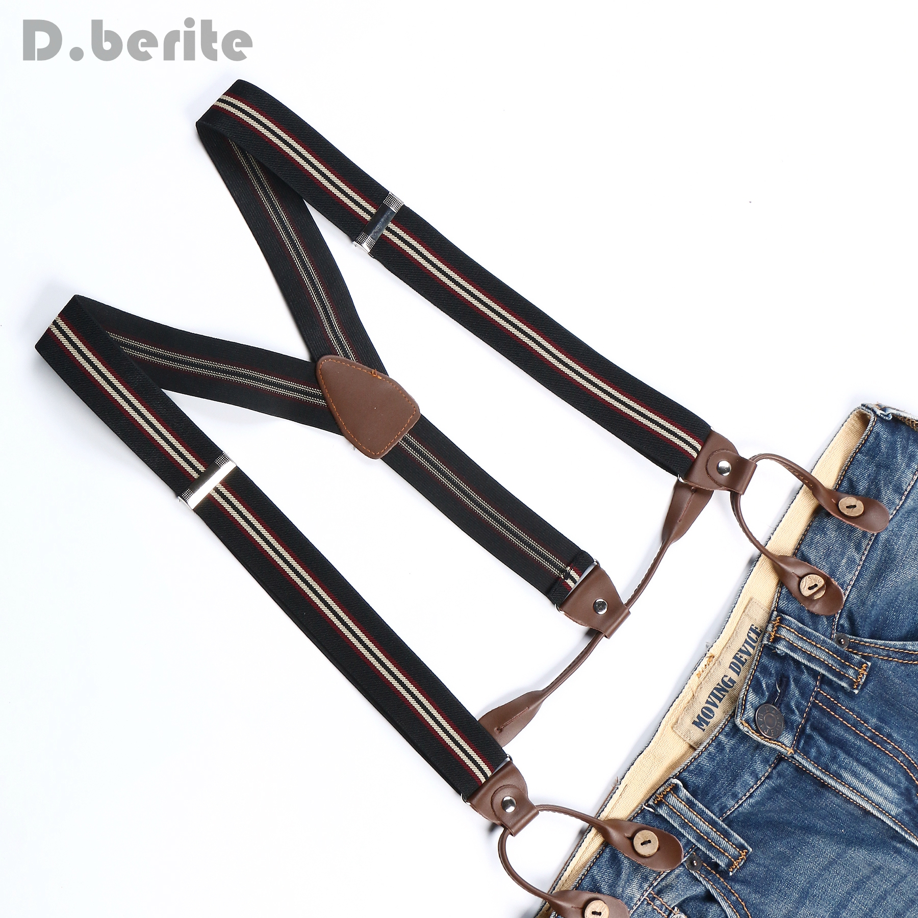 Braces Unisex Suspender Adjustable PU Leather Adult Belt Black Beige Red Striped BD719