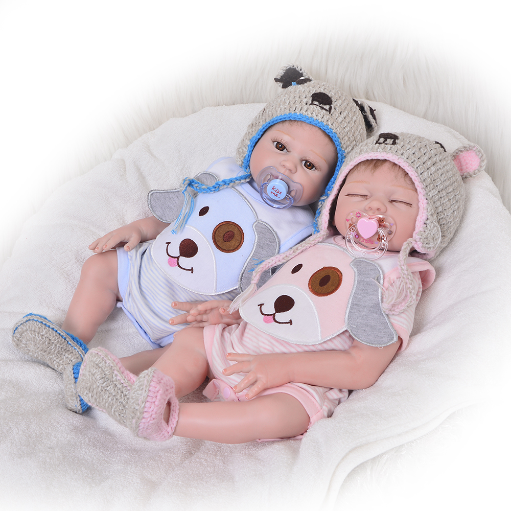 Fashion 20'' KEIUMI Reborn Dolls Asleep Girl and Awake Boy Twins Realistic Doll Reborn Babies Full Silicone Vinyl Body Palymates new 23 asleep reborn dolls babies full silicone vinyl body lifelike doll reborn boy gift for fashion children brinquedos bebe