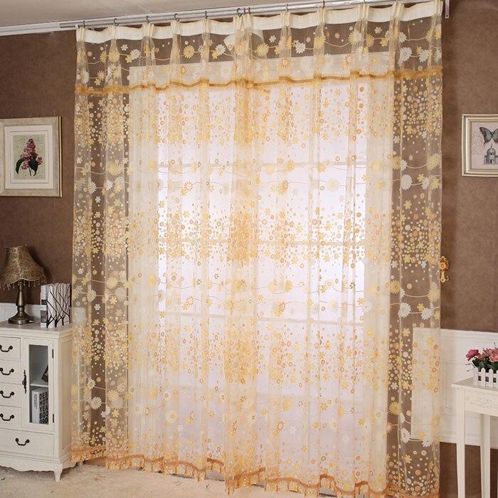 1 Pc Floral Tüll Tür Fenster Vorhang Drapieren Panel Sheer Schal Schabracken Qualität Allgleiches Fenster Bildschirme Tüll Sheer Solide Voile