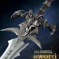 Mundo del juego réplica de agonía de escarcha sword colección longitud 120 cm de acero inoxidable hecha con espalda colgando tablero de cosplay prop