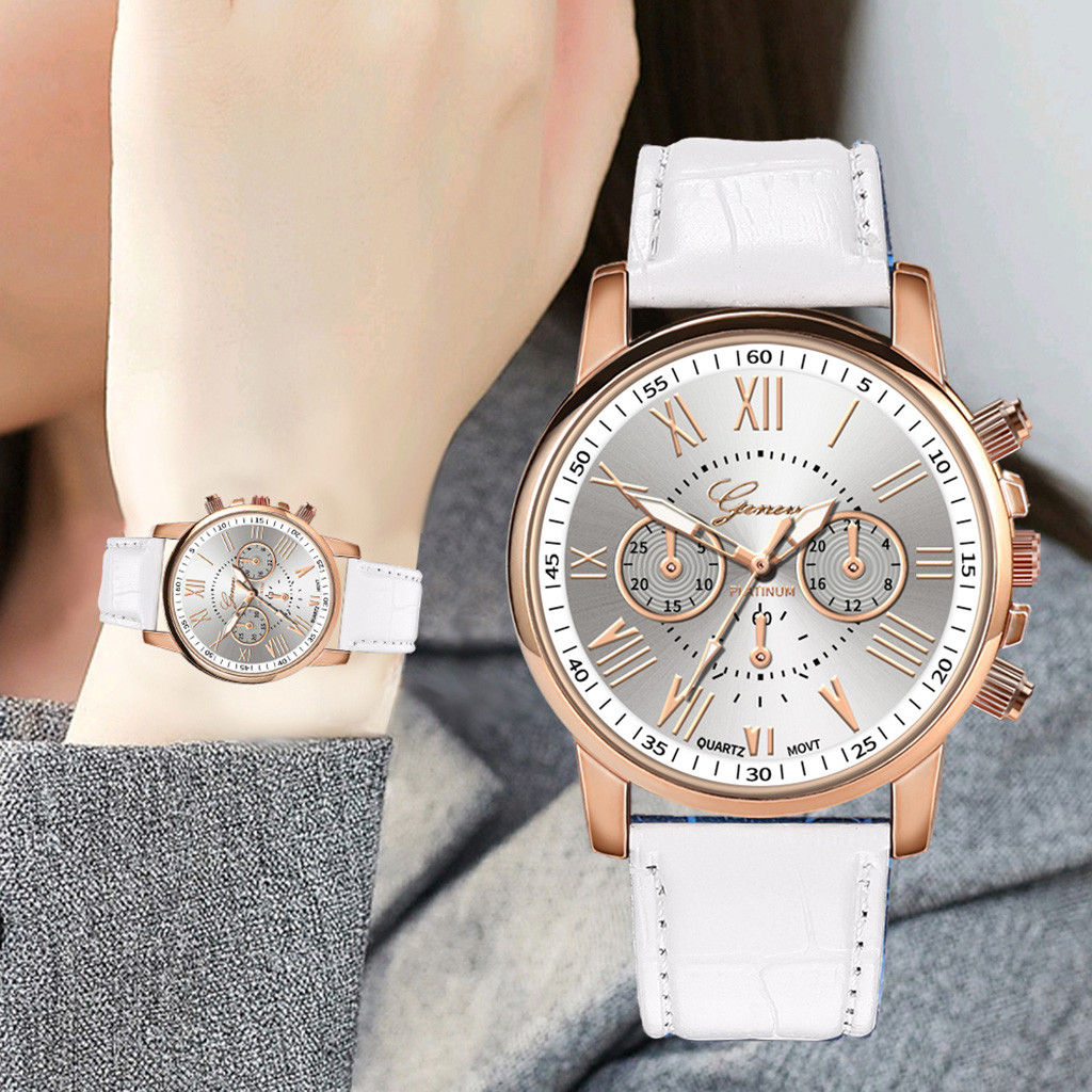 Geneva New Fashion Casual Women Watch Leather Band Business Simple Ladies Clock Quartz Analog Wrist Watches bayan kol saati