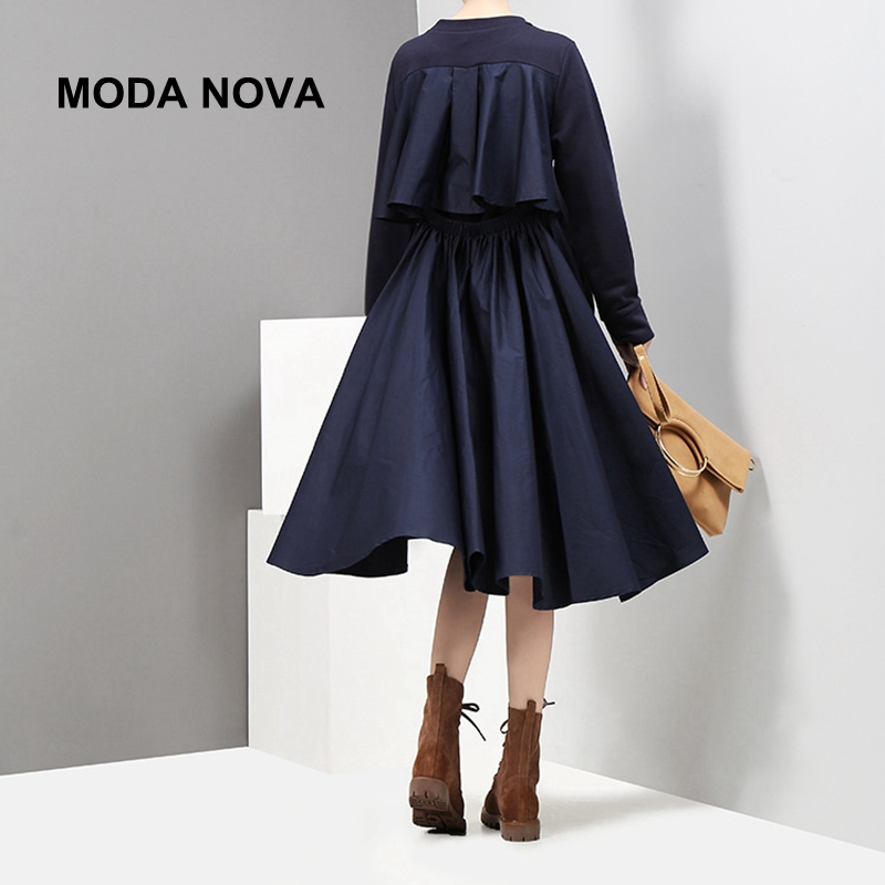 MODA NOVA Designer Causal Dress Women Ruffles Pleated Long Sleeve Midi Dress 2018 Autumn Winter Clothes Vestid Befree
