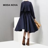 MODA NOVA Designer Causal Dress Women Ruffles Pleated Long Sleeve Midi Dress 2018 Autumn Winter Clothes Vestid Befree