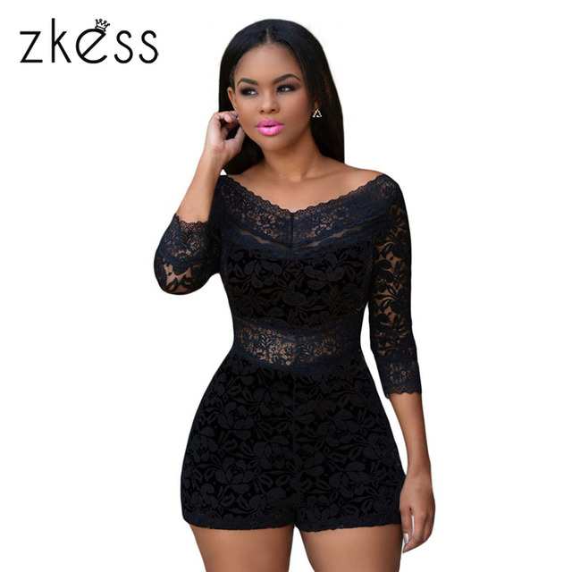 e7b086ba1704 ZKESS Lace Bodysuit Macacao Feminino Black Overlay Romper Jumpsuit short  playsuit fashion autumn bodysuit Outfits LC60411