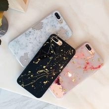 Phone Case Applicable IPhoneXSmax Mobile Shell 6s/7plus Gold Foil Marble Epoxy Soft PhoneCase