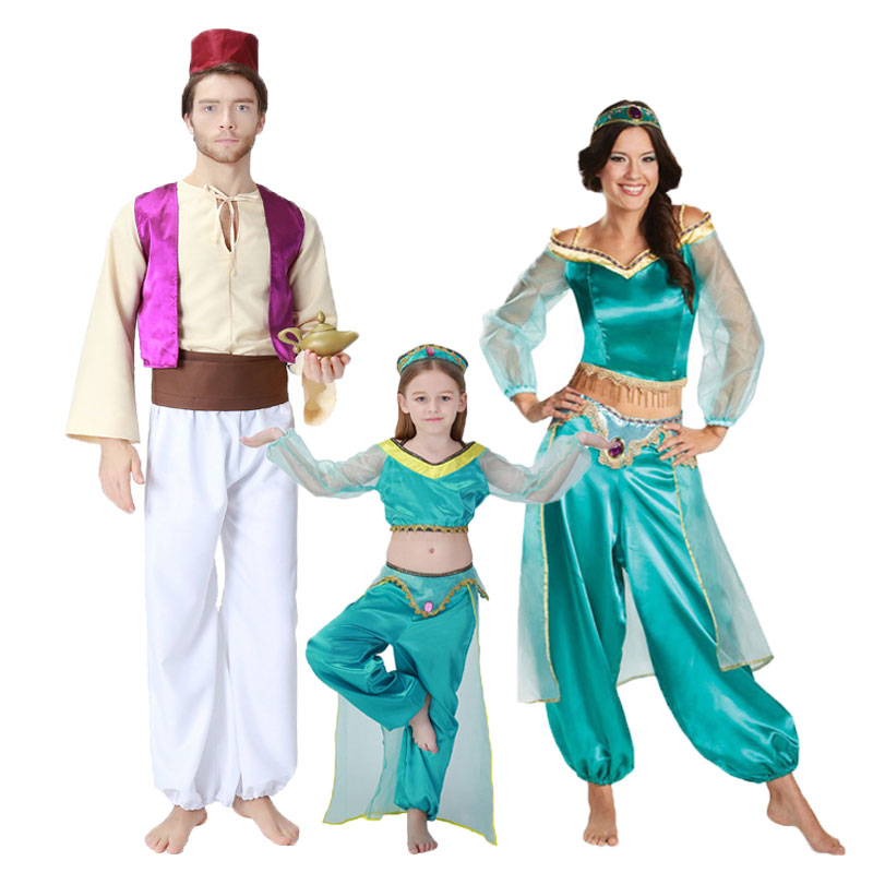 Fairy Tale Aladdin Lamp Aladdin Costumes Princess Jasmine Costume for Men Women Girls Family Matching Arabian Clothing Принцесса Жасмин