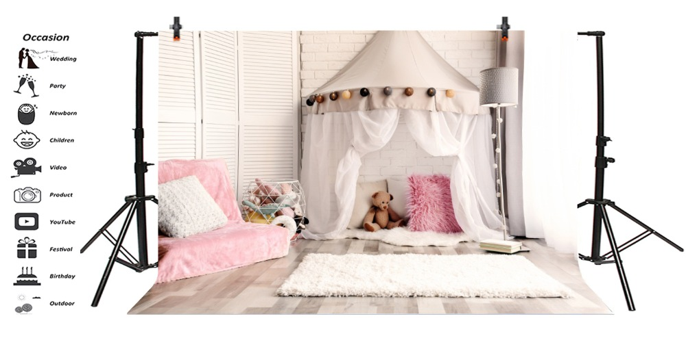 Consumer Electronics Laeacco Bedroom Bed Pattern Wall Lamp Chair Baby Photography Backgrounds Customized Photographic Backdrops For Photo Studio Camera & Photo