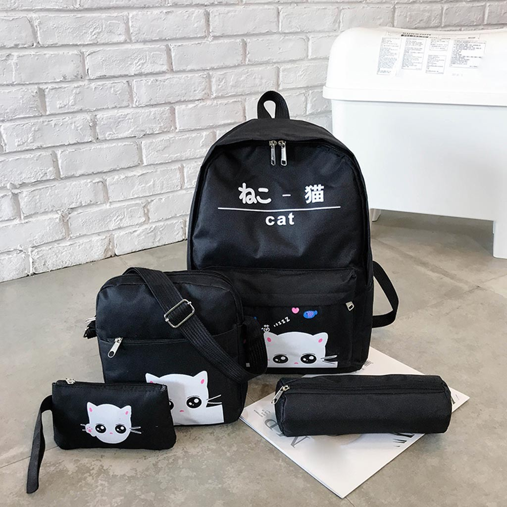 Women Four-Piece Backpack Printed Cat Backpack Travel Student Bag School BagWomen Four-Piece Backpack Printed Cat Backpack Travel Student Bag School Bag