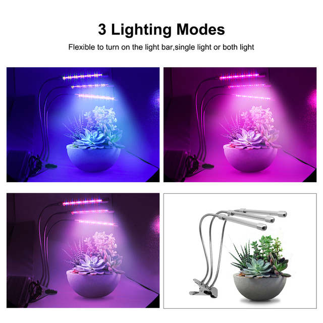 360 Indoor Lamp Us14 Clip 5w Plant Desk Office 10w Home 9 With Flexible 20Off For In Led Light 54w Gooseneck dual Grow 3 Head yf7gvbY6