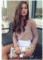 Vestidos New 2014 women dress Summer Chiffon blusas Blouse hollow out render Lace Blouse casual dress plus size vestido