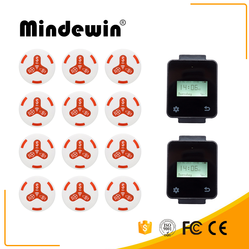 Mindewin Hot Sale Restaurant & Cafe Shop Wireless Calling Service System 12pcs White Calling Button + 2pcs Touch Watch Pager wireless service calling system paging system for hospital welfare center 1 table button and 1 pc of wrist watch receiver