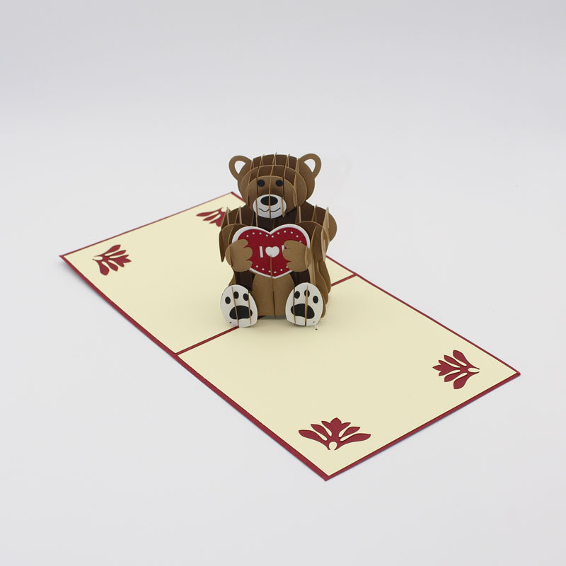Teddy bear 3d laser cut pop up custom greeting cards printing teddy bear 3d laser cut pop up custom greeting cards printing handmade birthday designs wishes party supplies in cards invitations from home garden on m4hsunfo