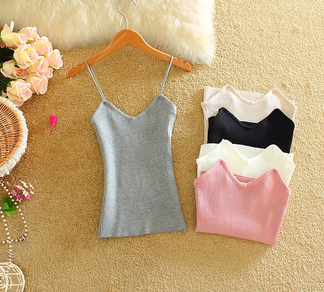 20206 Sexy Women Knitted Camis Summer Solid Woman Slim Crop Tops Ladies Casual Tanks Top Women's Singlet Vest