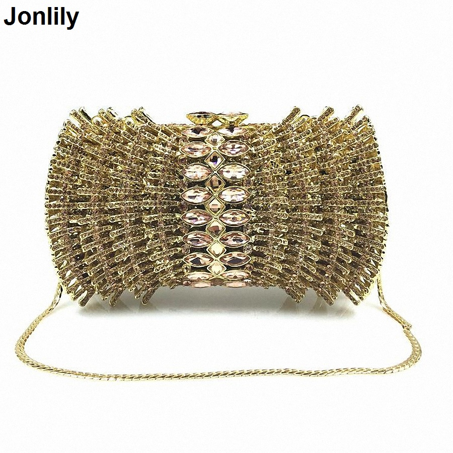 New Luxury Ladies Clutch Evening Bags Gold Crystal Clutch Bags Banquet Bags Women Soiree Handbag Prom Bling Bag LI-1577 natassie new design luxury crystal clutch women evening bag gold red ladies wedding banquet party purses good quality