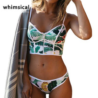 Whimscial High Waist Swimsuit 2017 Sexy Bikinis Women Swimwear Ruffle Vintage Bandeau Striped Bottom Bikini Set