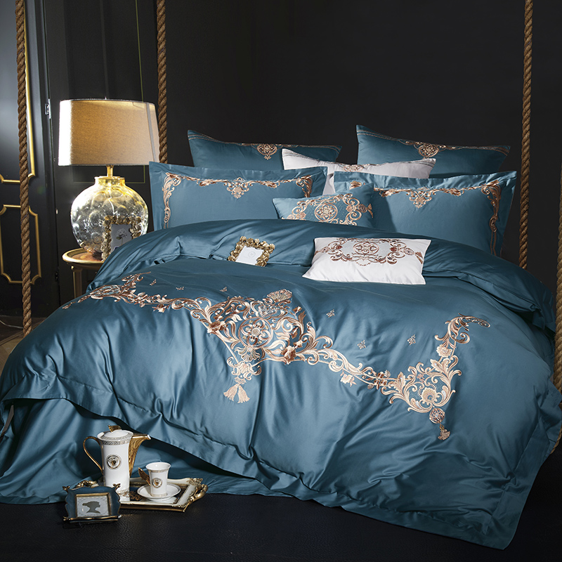 Blue Green Egyptian Cotton Embroidery Luxury Royal Bedding set Queen King size Bed set Quilt Duvet