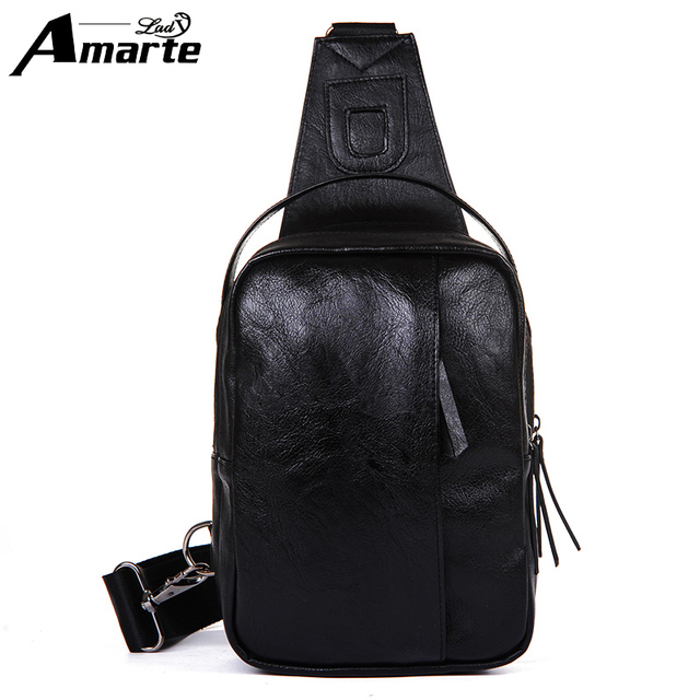 0741e0b499b2 US $21.36 30% OFF|Amarte Famous Brand Theftproof Magnetic Button Open  Leather Mens Chest Bags Fashion Travel Crossbody Bag Man Messenger Bag-in  Waist ...