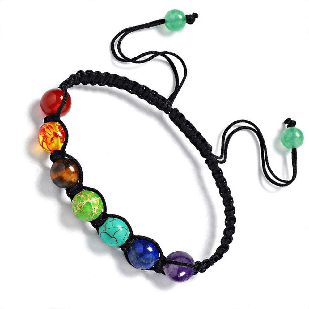 SUSENSTONE  Hot 7 Chakra Healing Balance Beads Bracelet Energy Bracelet Lovers Casual Jewelry 13 Rainbow Natural Stone Wristlet bracelet
