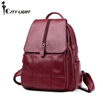 NEW fashion backpack women backpack PU Leather school bag women Casual style Girl Mochila