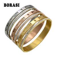 Cristal de luxo numerais romanos manguito pulseiras & pulseiras bijoux feminino design da marca ouro cor strass braço pulseira feminina