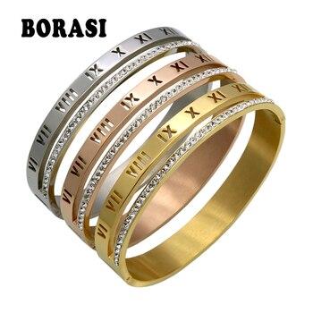 798fcd93f914 De cristal de lujo de Romano números brazalete pulseras y brazaletes de las  mujeres Bijoux marca de diseño de Color oro diamantes de imitación brazo ...