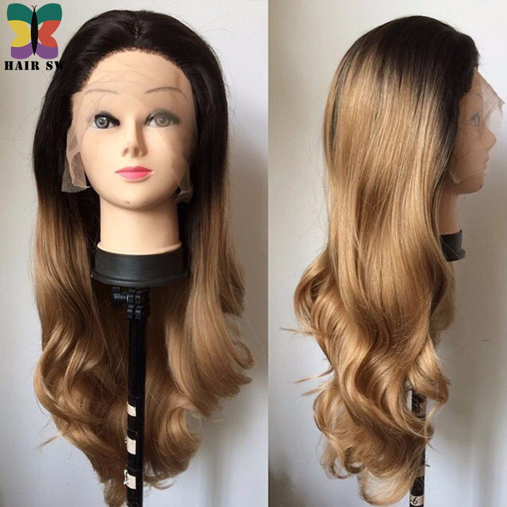 Hair Sw Long Body Wave Synthetic Lace Front Wig Ombre Dark Honey