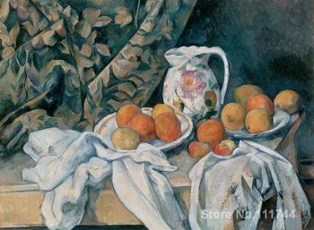 Modern art Still Life with Curtain and Flowered Pitcher by Paul Cezanne paintings High quality Hand painted