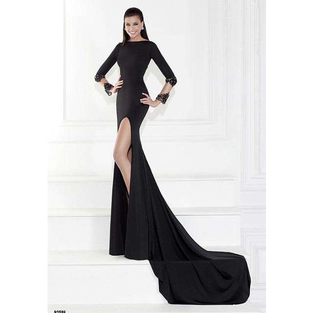 Long Black Mermaid Evening Dress 92586 Elegant Long Sleeve Open Back ...