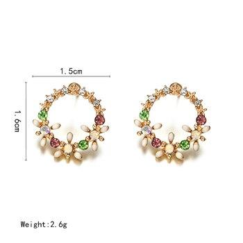 Crystal Stud Round Circle Flower Design Earrings 1